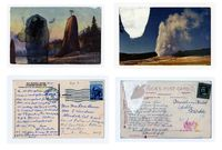 Found Postcard Monoprints (Old Faithful Pillars of Hercules) by Tacita Dean contemporary artwork works on paper