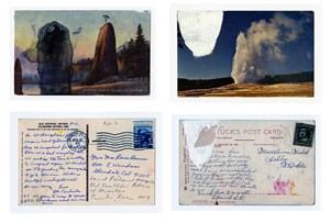 Found Postcard Monoprints (Old Faithful Pillars of Hercules) by Tacita Dean contemporary artwork