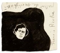 Portrait de Modigliani by Francis Picabia contemporary artwork painting, works on paper, drawing