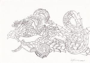 Lion/ Dragon IV by Chandraguptha Thenuwara contemporary artwork