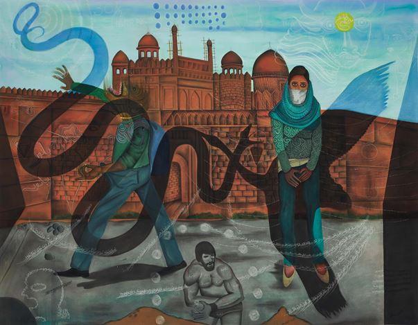Abul Hisham, Heat Rash (Noise level should not exceed 105 dB)(2018). Soft pastel on paper. 152.4 x 183 cm. Courtesy Galerie Mirchandani + Steinruecke, Mumbai.