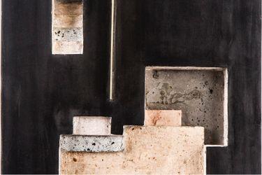 Ishmael Randall Weeks, Código Atemporal #71 (Pachacamac) (detail) (2021). Grout 700, soils, additives, wood, aluminium. 40 cm x 33 cm x 7 cm. Courtesy Lawrie Shabibi, Cromwell Place, London.