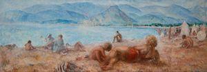 Baigneurs sur la plage de Cagnes-sur-Mer by Henri Lebasque contemporary artwork