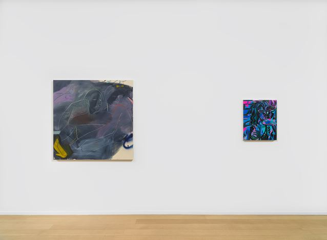 Exhibition view: Group Exhibition, Mira Dancy, France-Lise McGurn & Clare Woods, Simon Lee Gallery, New York (4 March–25 April 2020). Courtesy Simon Lee Gallery.Photo: Jeffrey Sturges.