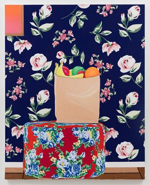Bag of Fruit on Ottoman by Alec Egan contemporary artwork painting
