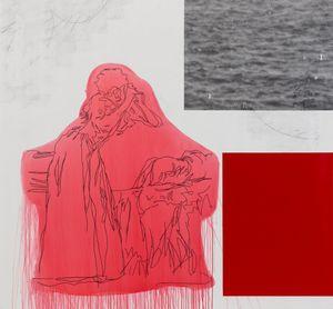 Joven en pie, mesándose los cabellos (Red) by Julião Sarmento contemporary artwork