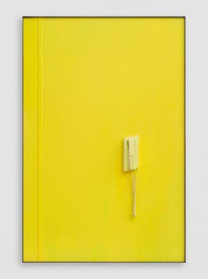 Yellow Telephone (Sleeping) for JG by Martin Boyce contemporary artwork