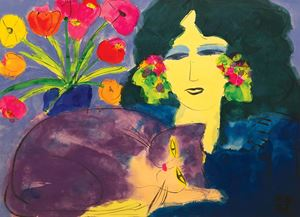 Beauty with Flowers and Cat by Walasse Ting contemporary artwork