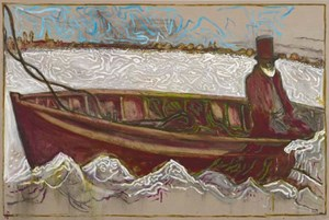 Man on Icy Sea - Ahab by Billy Childish contemporary artwork