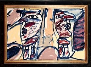 Site aléatoire avec deux personages by Jean Dubuffet contemporary artwork