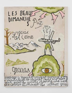 Green Man, homage to Retablos painting by Rose Wylie contemporary artwork