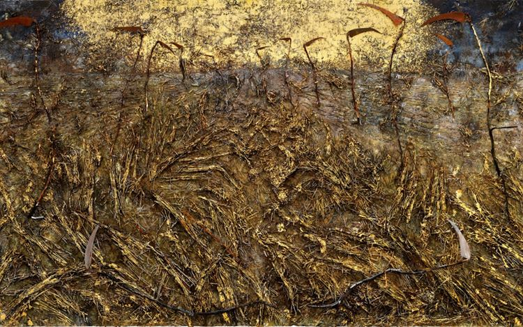 Anselm Kiefer, Ein Wort von Sensen gesprochen (One Word Spoken by Scythes) (2019–2020) (detail). Emulsion, oil, acrylic, shellac, straw, gold leaf, wood, and metal on canvas. 470 x 840 cm. © Anselm Kiefer. Courtesy Gagosian. Photo: Georges Poncet.