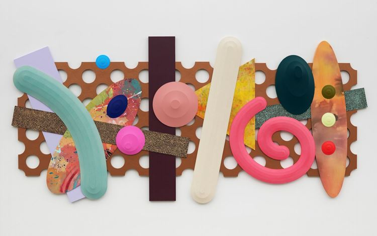 Josh Sperling, Fried Paradise (2020). Acrylic on canvas, acrylic on panel, hammered enamel on panel. 150 x 320 cm. Courtesy the artist and Perrotin. Photo: Farzad Owrang.