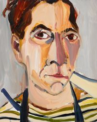 Lockdown Self-Portrait in Stripes by Chantal Joffe contemporary artwork painting