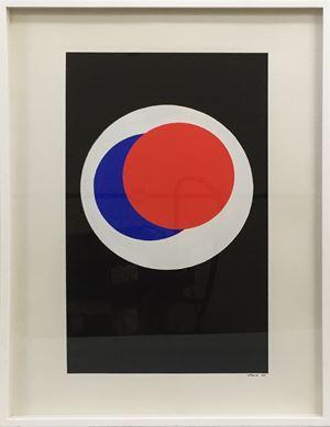 Cercles Noir blanc bleu rouge by Geneviève Claisse contemporary artwork