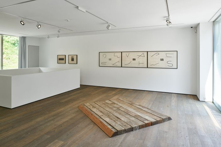 Exhibition view: Group Exhibition, Map and Territory. Environmental Art from the Panza Collection, Hauser & Wirth, St. Moritz (9 July–3 October 2021). © the artists / © ARS, NY and ProLitteris, Zurich2021. Courtesy the Panza Collection and Hauser & Wirth.