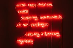 Wine rolls over the throat, scraping burnmarks on the esophagus, leaving a fleeting signature by Po-Chih Huang contemporary artwork