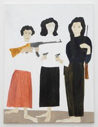 Zohra Drif, Djamila Bouhired and Hassiba Ben Bouali by Kate Boxer contemporary artwork painting, works on paper