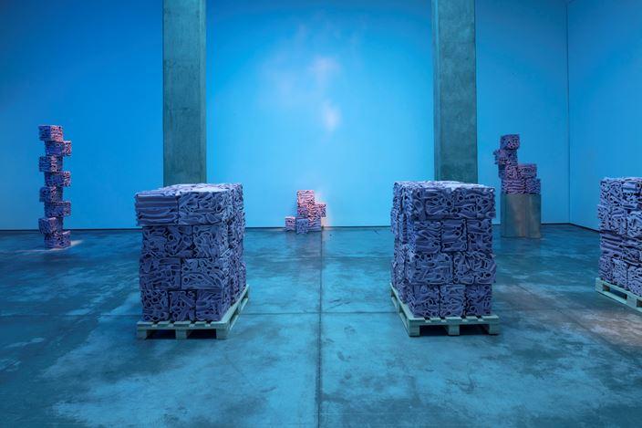 Exhibition view: Superflex, There Are Other Fish In The Sea, Galería OMR, Mexico City (20 November 2019–18 January 2020). Courtesy SUPERFLEX and Galería OMR, Mexico City. Photo: © Enrique Macías.