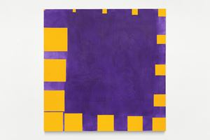no title (cobalt violet and cadmium yellow, sixteen square progression on the edges) by Paul Mogensen contemporary artwork