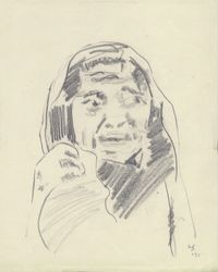 Mourning Woman (9) by Gieve Patel contemporary artwork works on paper