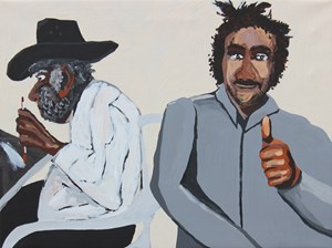 Jimmy Pompey portrait, Vincent Namatjira portrait by Vincent Namatjira contemporary artwork