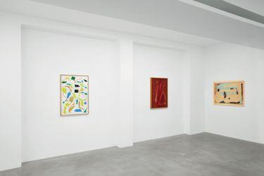 1977 Messerschnitt VI acrilico su carta acrylic on paper 100 x 70 cm1990 Zeichnung 2 reverse glass painting on plexiglass with lacquer 103 x 74 cm1983 Untitled enamel on layered cellulois on cardboard 73,5 x 98 cmCourtesy Dep Art Gallery