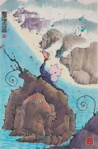 Rock Monsters by Luis Chan contemporary artwork works on paper