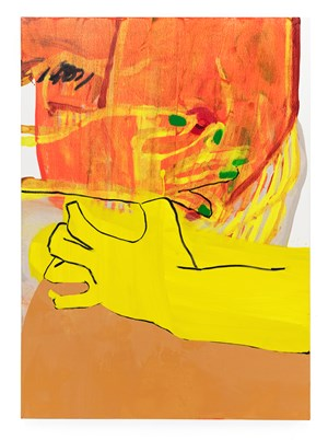 Self-like construct (in red-orange) by Sarah Faux contemporary artwork