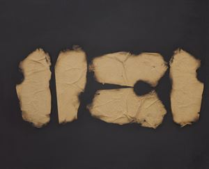 Collage di carta bruciata su tela by Turi Simeti contemporary artwork
