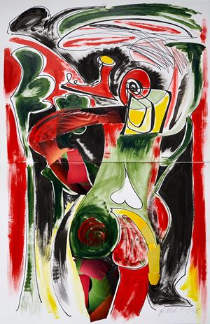 A Tail in Red, Gold and Green by Jane McAdam Freud contemporary artwork