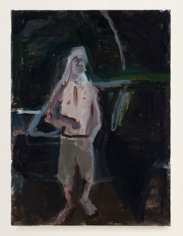 Man in Front of a Car, 2013. Oil on canvas, 16 x 12 in. Courtesy Thomas Erben Gallery.