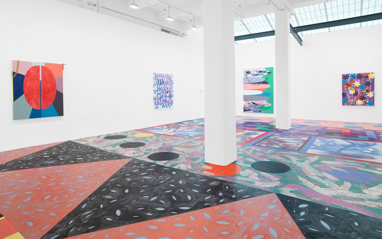 Sarah Cain, Dark Matter, 2016, Exhibition view. Courtesy Galerie Lelong, New York.