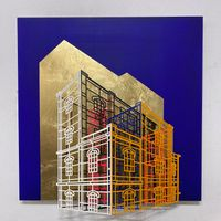 Ambiguous wall- Golden cage 01 by Byung Joo Kim contemporary artwork sculpture