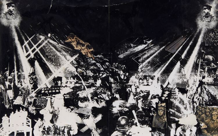 Peter Kennard, Stalin Projects, (1973) (detail). Photomontage, gelatin silver and photolithographic prints with ink on card. 34 x 46 cm. Courtesy Richard Saltoun Gallery.