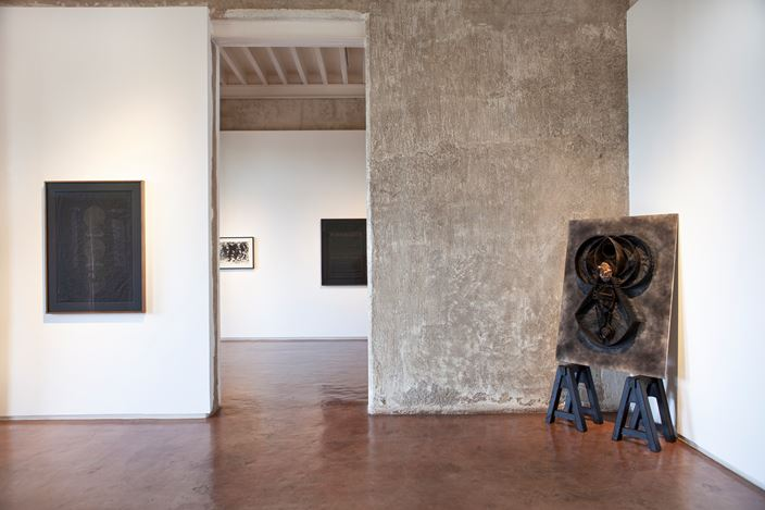 Exhibition view: Black Beyond Sight, Jhaveri Contemporary, Mumbai (10 September–28 November 2020). Courtesy Jhaveri Contemporary. Photo: Mohammed Chiba.