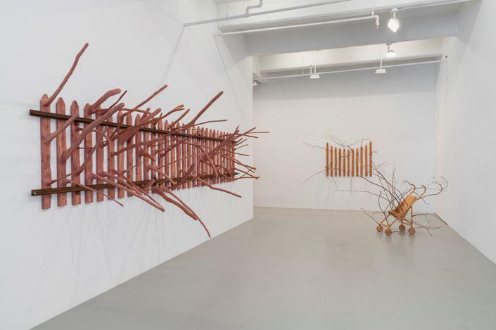 Exhibition view: Hugh Hayden, Border States, Lisson Gallery, 10th Avenue, New York (15 September–27 October 2018).                © Hugh Hayden. Courtesy Lisson Gallery.