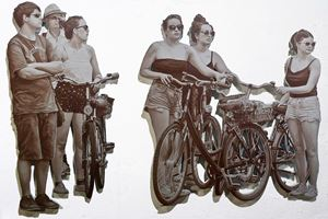 Cyclists by John Miller contemporary artwork