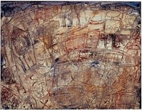 Paysage avec promeneur saluant le public by Jean Dubuffet contemporary artwork painting
