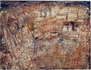 Paysage avec promeneur saluant le public by Jean Dubuffet contemporary artwork