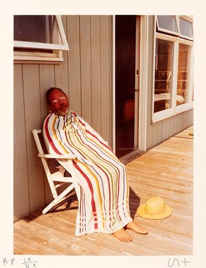 Henry avoiding the sun by David Hockney contemporary artwork