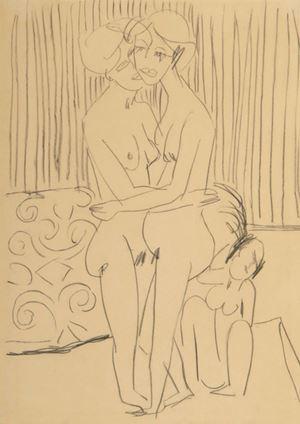 Zwei sich umarmende Frauen by Ernst Ludwig Kirchner contemporary artwork