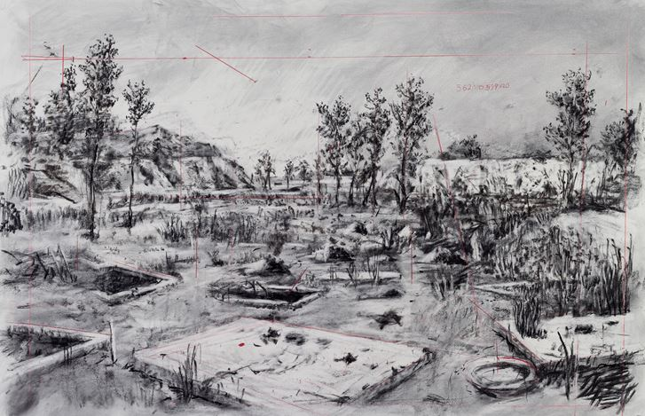 William Kentridge, Drawing for City Deep (Zama Zama Pits) (2019). Charcoal and red pencil on paper. 103.5 x 152 cm. Courtesy Goodman Gallery, Johannesburg.