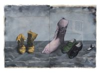 Shoes by Zhang Xiaogang contemporary artwork painting, works on paper