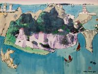 Untitled (Fantasy Island with Turreted Towers) by Luis Chan contemporary artwork works on paper