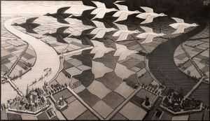 Day and Night by M.C. Escher contemporary artwork print