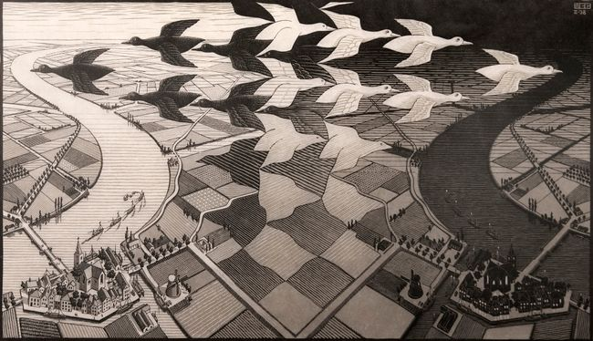 Day and Night by M.C. Escher contemporary artwork
