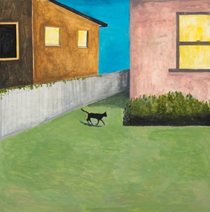 Cat in yard at night by Noel McKenna contemporary artwork