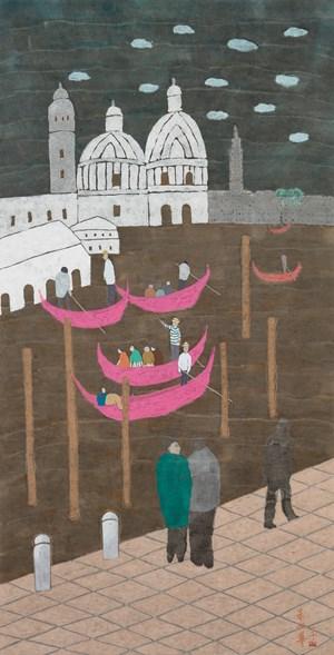 The Pink Gondola, Venice by Chu Hing-Wah contemporary artwork