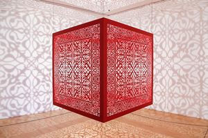 Shimmering Mirage [red] by Anila Quayyum Agha contemporary artwork